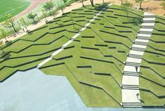 Amphitheater at Kyushu Sangyo University in Fukuoka, Japan - photo from designers Design Network + Associates (DNA); irregular lines recalling traditional terraced rice fields, this area was designed over the . Vista Landscape, Landscape Plaza, Landscape Stairs, Landscape Architecture Design, Urban Landscape, Kyushu, Parque Linear, Parks, Urban Agriculture