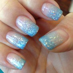 Pastel blue glitter gel fade