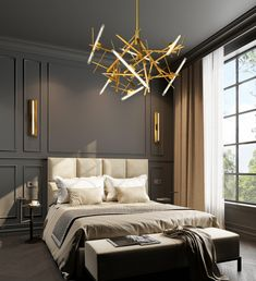 One of our newest contemporary chandelier collections introduced at Salon del Mobile. See all of our must see contemporary lighting and interior designs Modern Classic Bedroom, Modern Classic Interior, Modern Luxury Bedroom, Interior Design Minimalist, Luxurious Bedrooms, Luxury Interior, Home Interior Design, Classic Bedroom Decor, Modern Master Bedroom