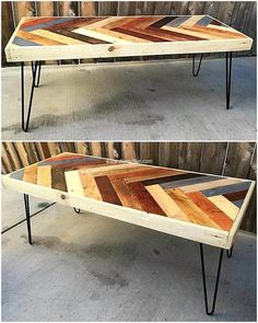 Wood pallet table with unique texture on it is giving mind blowing presentation. The use of multi colors in divergent style is making it more appealing and tremendous. The texture of this pallet table is new idea of designing table. Serve your place with smashing ideas.
