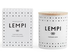 Skandinavisk Lempi Vintage Love Scented Candle: LEMPI [LEM-PE], old Finnish for love. In the days when love was shamelessly romantic and best savoured in black and white. A timeless blend of rose and strawberries, garden peony and oakmoss. Made from a blend of perfume, natural and mineral wax with a 100% cotton wick and engraved beechwood lid. Poured into a painted glass votive, it will burn for 50 hours. Designed in Denmark, assembled in France.