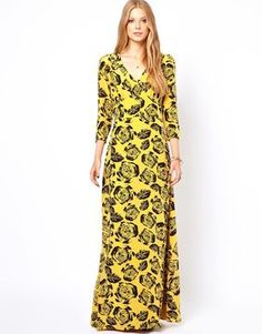 Winter Kate Silk Crepe Maxi Dress in Gold Rose Print on shopstyle.com