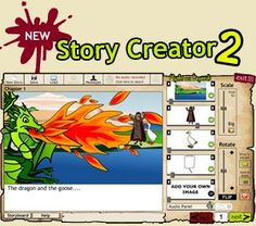 Make your own stories using sound, text, characters, creatures and scenery.