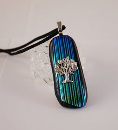 Tree of Life Dichroic Glass Pendant Striped by FancyThatFusion