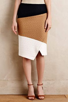 I like this. Too bad it's dry clean. Colorblocked Knit Pencil Skirt - anthropologie.com