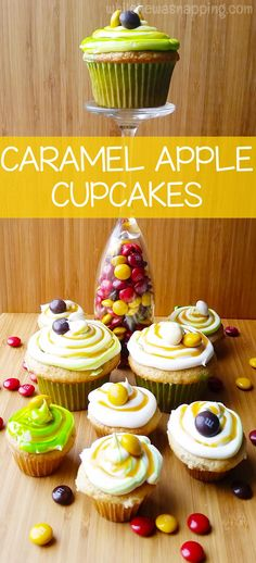 Caramel Apple Cupcakes with caramel cream cheese frosting are the perfect way to welcome Autumn! Easy and delicious!