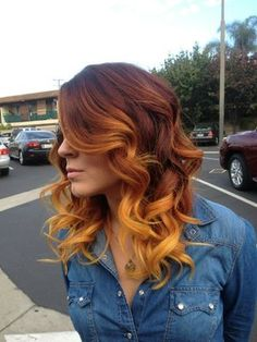 Copper ombre, I do have some red tones in my hair but not sure I could pull this off. Beautiful!