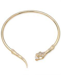 Thalia Sodi Gold-Tone Crystal & Imitation Pearl Snake 5 Choker Necklace, Created for Macy's Snake Necklace, Snake Jewelry, Collar Necklace, Cute Jewelry, Silver Jewelry, Jewelry Accessories, Jewelry Design, Jewelry Ideas, Chocker Necklace