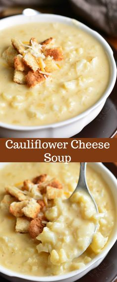 This simple cauliflower cheese soup recipe takes only a… Cauliflower Cheese Soup. This simple cauliflower cheese soup recipe takes only about 40 minutes to make and you will be enjoying this cheesy, creamy, hearty soup. Crock Pot Recipes, Beef Soup Recipes, Ground Beef Recipes, Vegetarian Recipes, Cooking Recipes, Keto Recipes, Cheese Recipes, Cooking Tips, Dinner Recipes