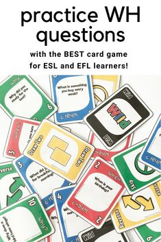 96 colorful cards designed to get your students speaking and responding to Present Simple, Past Simple and Present Continuous What, When, Where, Why questions while having fun! A great game for the ESL or EFL classrooms! Games For English Class, English Games, English Activities, Teaching Activities, Vocabulary Activities, Preschool Worksheets, Teaching Ideas, Esl Classroom, Classroom Language