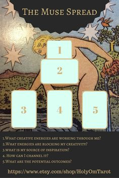 A spread designed to get your creative juices flowing! tarot, tarot spreads, tarot cards, muse