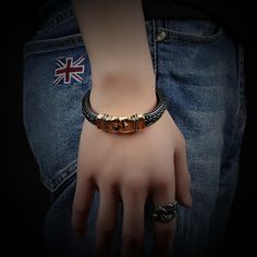 Mayan Style Rope Leather Bangles Mens Gold Plated Stainless Steel Magnet Buckle Bracelets Fashion Leather Jewelry