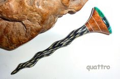 Quattro Hair Sticks 'Naturals' Shillelagh - Gemstone Intarsia by quattro on Etsy