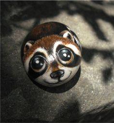 Raccoon Handpainted   rock art handpainted stone by thestoneteller