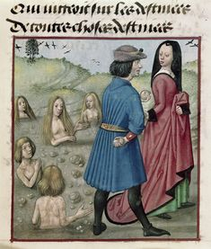 BL Harley ms and Pyrrah repopulating the world after the Flood (humans spring forth from the stones that they cast behind them).Roman de la Rose,the Netherlands of the Prayer Books of around for Engelbert II, count of Nassau and Vianden Medieval Life, Medieval Art, Medieval Manuscript, Illuminated Manuscript, Renaissance Image, The Decameron, Courtly Love, Medieval Paintings, Wars Of The Roses