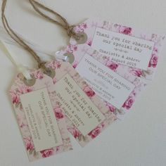 PERSONALISED WEDDING FAVOUR TAGS Vintage Roses Luggage Label Style Shabby Chic