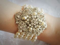 Bridal Bracelet, Swarovski Pearl and Rhinestone Wedding Bracelet Jewelry, Victorian Style Silver Filigree Crystal Bracelet Cuff, AIMEE