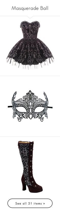 """Masquerade Ball"" by shamallama ❤ liked on Polyvore featuring dresses, vestidos, short dresses, victorian dress, black cocktail dresses, short prom dresses, mini prom dresses, cocktail prom dress, costumes and masks"