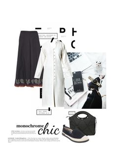 'Monochrome chic' by me on Limeroad featuring Hook & Eye White Kurtas