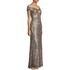 Tadashi Shoji Women's Off-the-Shoulder Sequin Gown ($519) ❤ liked on Polyvore featuring dresses, gowns, copper shadow, off the shoulder gown, sequin evening gowns, off shoulder evening dress, off shoulder ball gown and off the shoulder ball gown