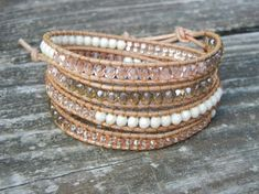 Beaded Leather Wrap Bracelet with Pink and Champagne Czech Glass Beads on Natural Tan Leather