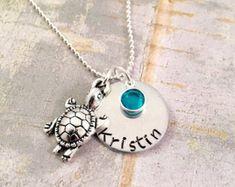 Jewelry   Etsy Sea Turtle Jewelry, Sea Turtle Bracelet, Turtle Earrings, Ocean Jewelry, Beach Jewelry, Name Necklace, Ball Chain, Hand Stamped, Swarovski