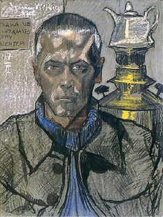 Self Portrait with Samovar, 1917 by Stanislaw Ignacy Witkiewicz (aka Witkacy) on Curiator, the world's biggest collaborative art collection. Gouache, Selfies, Digital Museum, Collaborative Art, Portraits, Pastel Drawing, Famous Artists, Agra, In This World
