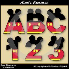 Mickey Alphabet Letters & Numbers Clip Art by AisnesCreations