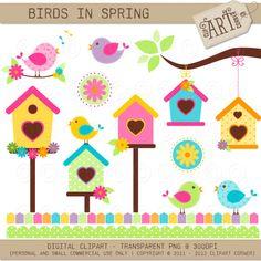 Digital clipart  Birds Spring paper crafts card by ClipArtCorner, $4.50