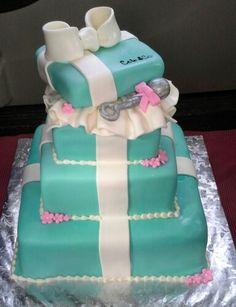 Tiffany Baby Shower Cake