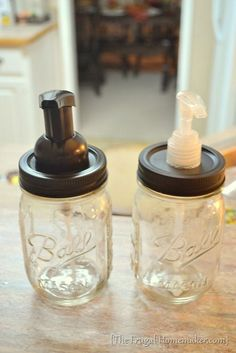 "DIY Mason jar soap dispensers...spray paint w/ORB & how to make ""foaming hand sopa"" soooooooo easy peasy!!!"