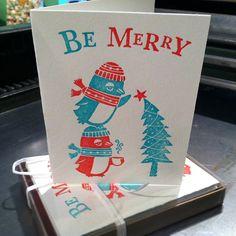 Letterpress Holiday Cards, Penguins -- Set of 10 auf Etsy, 17,02 €