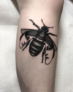 Black bee with faces on wings. art tattoo 40 Beautiful Bee Tattoo Designs And Ideas For Everyone Creepy Tattoos, Cute Tattoos, Unique Tattoos, Leg Tattoos, Beautiful Tattoos, Body Art Tattoos, Small Tattoos, Tattoos For Guys, Tattoo On Face