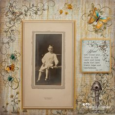 Blessed ~ Simply designed heritage childhood page with delicate bee and butterfly embellishments. *Click on photo for a step-by-step Tutorial on making this layout and list of products used with links.