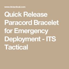 Quick Release Paracord Bracelet for Emergency Deployment - ITS Tactical