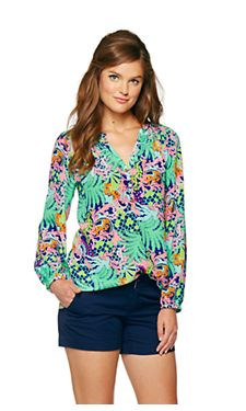 Elsa Blouse - True Blue Checking In | Lilly Pulitzer