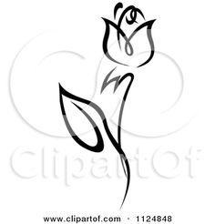Clipart Of A Black And White Rose Flower 9 - Royalty Free Vector Illustration by Seamartini Graphics