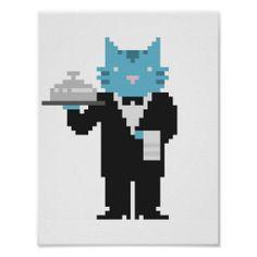 Waiter Cat Pixel Art Poster