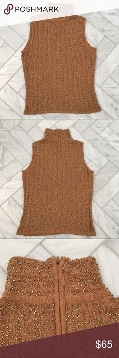 Carmen Marc Valvo beaded sleeveless turtleneck Carmen Marc Valvo gold color sleeveless turtleneck with same color beading throughout. Back zip. Dress up or down . Carmen Marc Valvo Sweaters