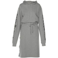Vetements Hooded wrap-detail sweatshirt dress (7.800 DKK) ❤ liked on Polyvore featuring dresses, grey, ruched sleeve dress, ruching dress, gray wrap dress, rouched dress and grey dress