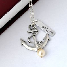Personalized antique anchor necklace, I'd love this for my grandpa, to put his birthdate in it and cherish forever