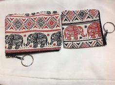 New 2 Bags  Zipper Thai Elephant Handmade Fabric Coins Purse Souvenir Keychain