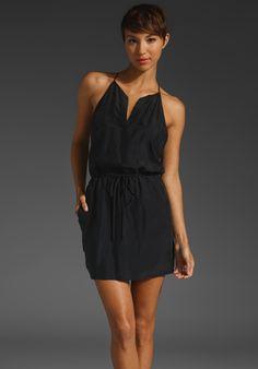 KRISA Washed Silk Racerback Mini Dress in Black at Revolve Clothing