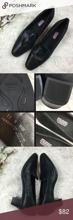 Munro Layla Leather Pump black lizard print Like new condition Munro \'Layla\' Leather Pump in black lizard skin print. Size 11 N, according to web sight the \
