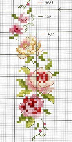 Изящный цветочный орнамент (Вышивка крестом) | Журнал Вдохновение Рукодельницы