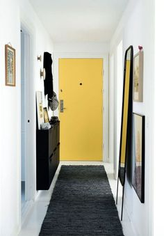 entrée couloir meuble rangement chaussures tapis miroir