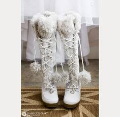 If you want to find very comfortable wedding shoes you have two top choices, one is to wear cowgirl wedding boots (as many of our readers choose). However, cowgirl boots aren't for everyone, even i… Winter Wedding Boots, White Winter Boots, Winter Wonderland Wedding, White Boots, Winter Weddings, Valentino Wedding Shoes, Cowgirl Wedding, Bride Shoes, Outfits