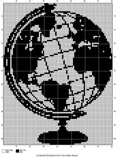 Globe x-stitch