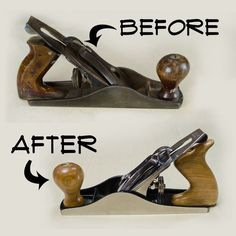Woodworking School Picture of How To Restore A Hand Plane - I saw an old hand plane in a used tool store and figured I would have a go at restoring it. I think the before and after speaks for itself. One quick note: Whe. Woodworking Hand Planes, Woodworking School, Learn Woodworking, Woodworking Projects, Woodworking Bench, Woodworking Equipment, Woodworking Essentials, Woodworking Courses, Woodworking Techniques