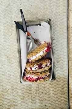 #vanilla #bean #waffle #icecream sammies w/ #maple #berry mash #dessert #recipe #glutenfree #vegan  #Georgia #BrainBalance #addressthecause http://www.thefirstmess.com/2013/09/04/vanilla-vegan-gluten-free-waffle-ice-cream-sammies-recipe/